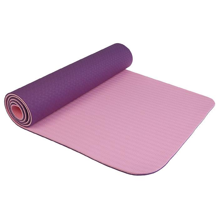 Коврик для йоги 183 × 61 × 0,8 см, двухцветный, цвет фиолетовый