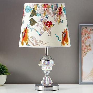 """Лампа настольная """"Хрустальный цветок"""" 1x60Вт E27 хром 25х25х42 см."""