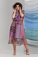 Женское летнее шифоновое фиолетовое нарядное большого размера платье Avanti Erika 1193-4 50р.