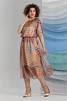 Женское летнее шифоновое коричневое нарядное большого размера платье Avanti Erika 1193-5 50р.
