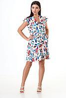 Женское летнее хлопковое платье Anelli 1062 молочный_фон-листья 42р.