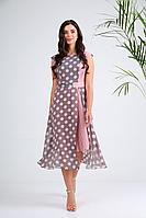 Женское летнее шифоновое платье SandyNa 13976 серо-розовый_горох 52р.