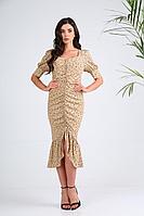 Женское летнее бежевое платье SandyNa 13983 бежевый+горох 46р.