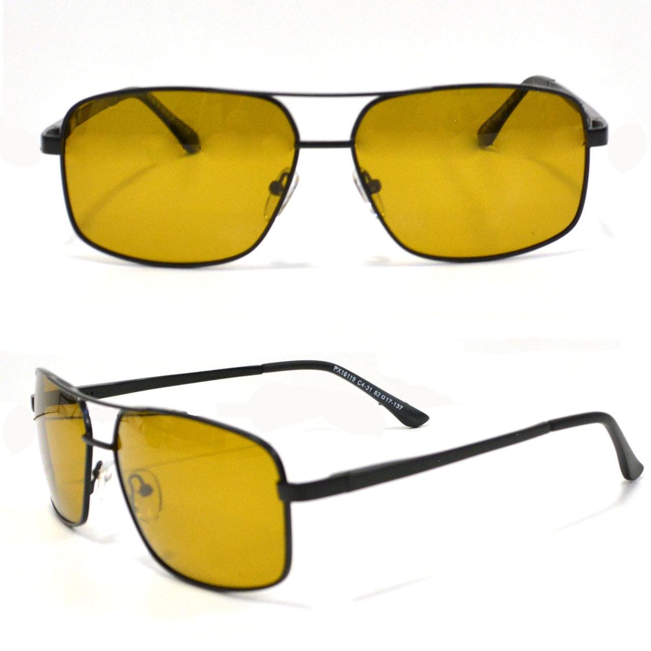 Солнцезащитные поляризационные очки ПОЛАРОИД UV400 тонкая сдвоенная оправа коричневые стекла АВТО PX16119 - фото 1