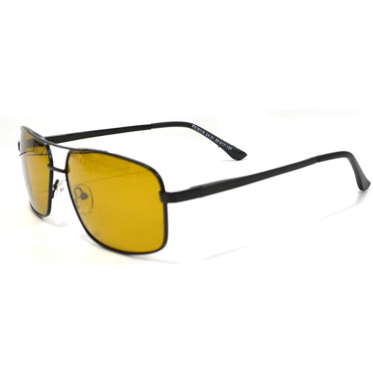 Солнцезащитные поляризационные очки ПОЛАРОИД UV400 тонкая сдвоенная оправа коричневые стекла АВТО PX16119 - фото 4