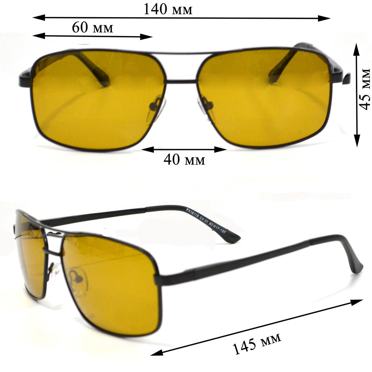 Солнцезащитные поляризационные очки ПОЛАРОИД UV400 тонкая сдвоенная оправа коричневые стекла АВТО PX16119 - фото 2