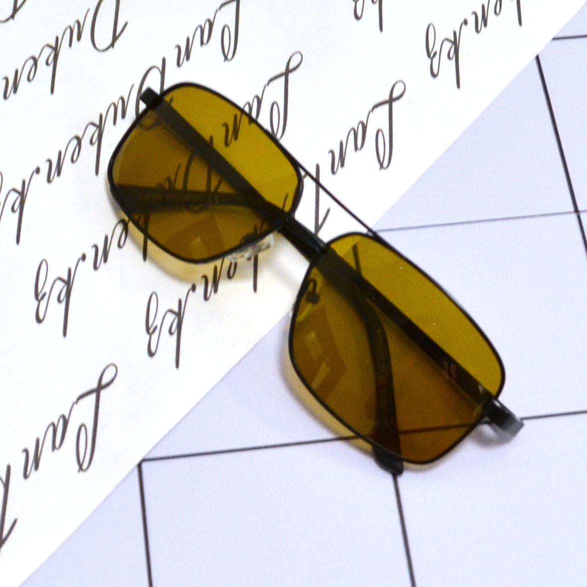 Солнцезащитные поляризационные очки ПОЛАРОИД UV400 тонкая сдвоенная оправа коричневые стекла АВТО PX16119 - фото 8