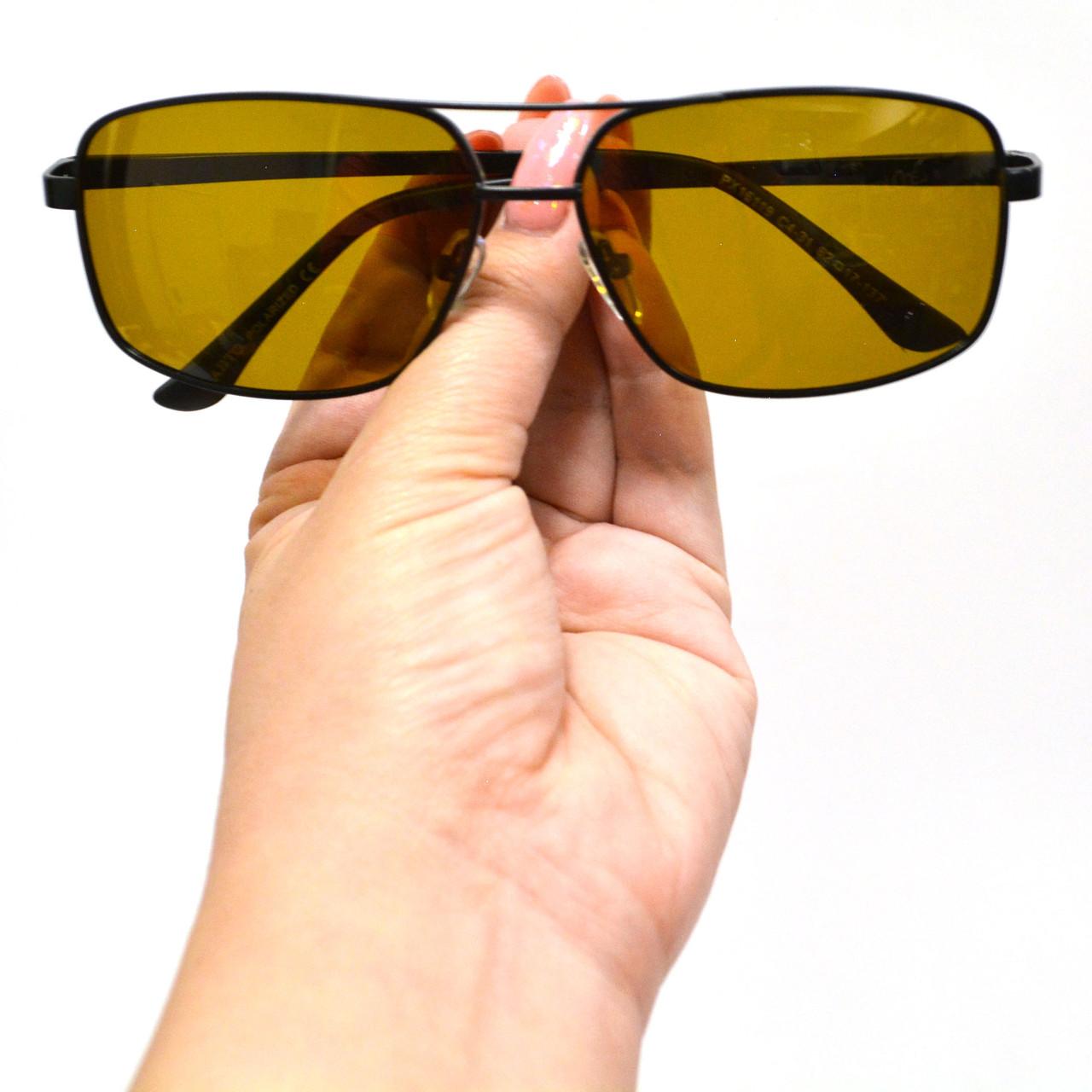 Солнцезащитные поляризационные очки ПОЛАРОИД UV400 тонкая сдвоенная оправа коричневые стекла АВТО PX16119 - фото 9