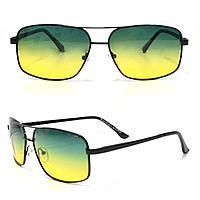 Солнцезащитные поляризационные очки ПОЛАРОИД UV400 тонкая сдвоенная оправа желто зеленые стекла АВТО PX16119