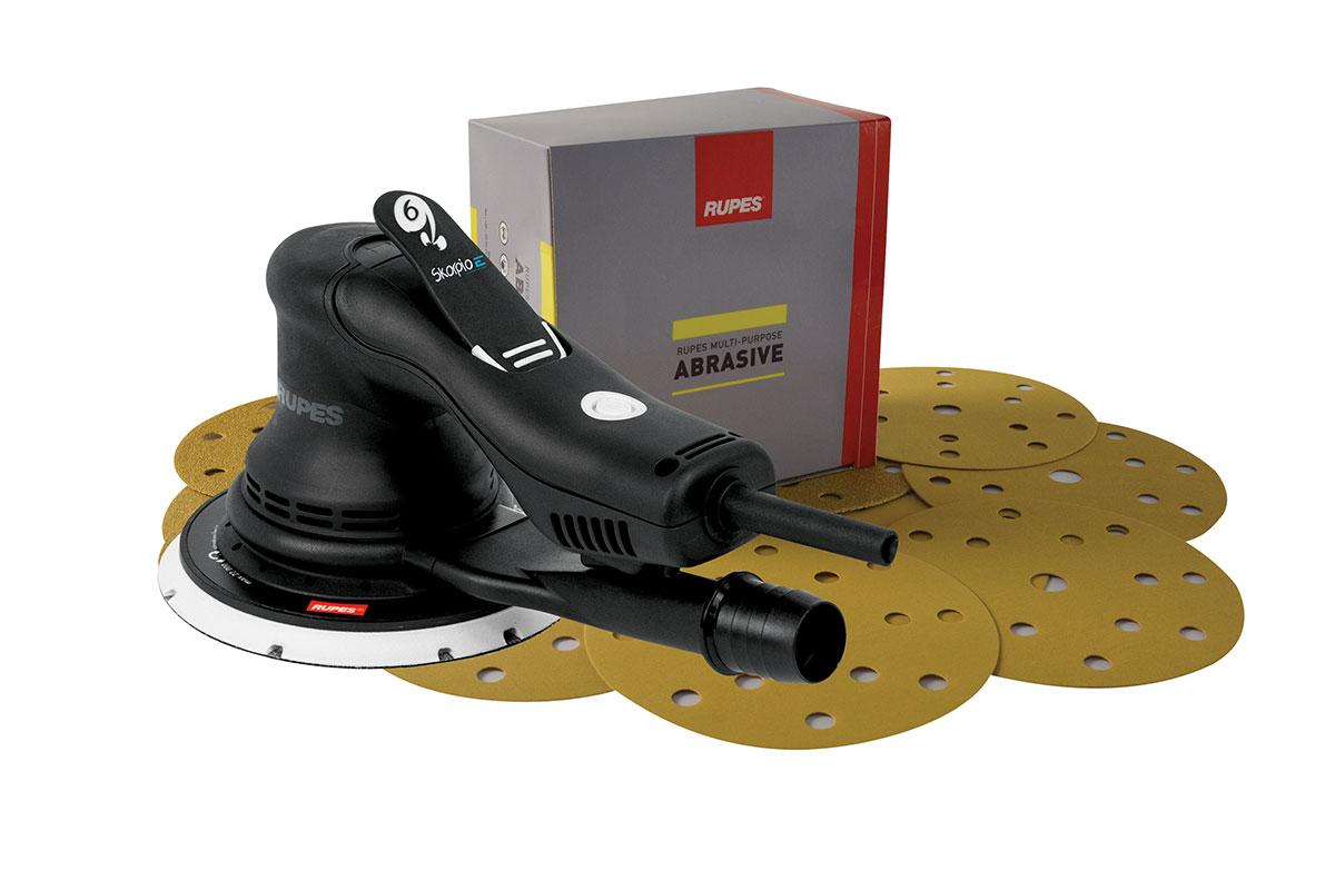 Бесщеточная шлифовальная машинка Scorpio E2 в комплекте с абразивами Rupes