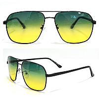 Солнцезащитные поляризационные очки ПОЛАРОИД UV400 тонкая сдвоенная оправа желто зеленые стекла АВТО PX16117
