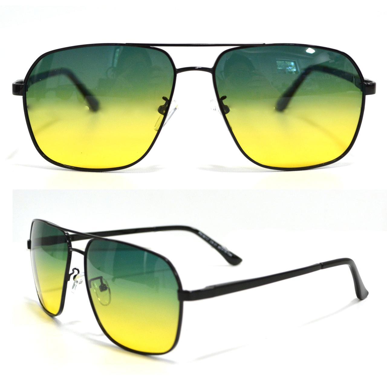 Солнцезащитные поляризационные очки ПОЛАРОИД UV400 тонкая сдвоенная оправа желто зеленые стекла АВТО PX16117 - фото 1