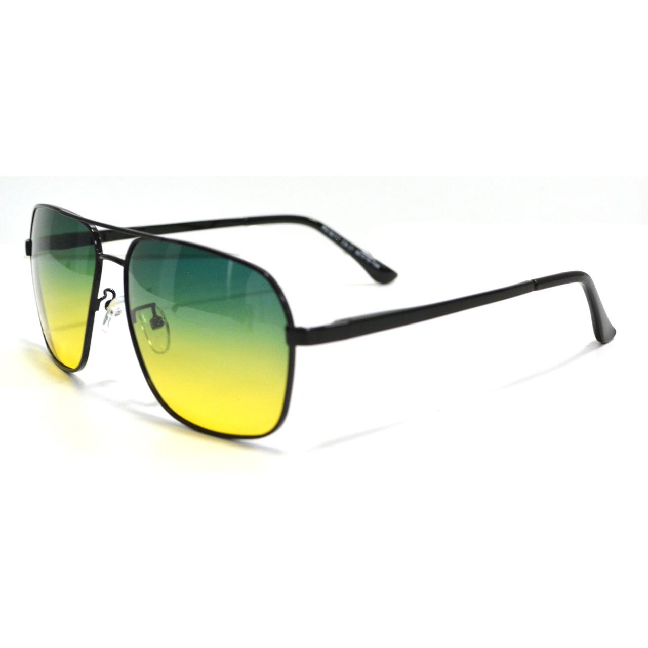 Солнцезащитные поляризационные очки ПОЛАРОИД UV400 тонкая сдвоенная оправа желто зеленые стекла АВТО PX16117 - фото 4