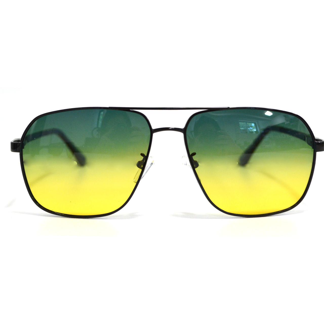 Солнцезащитные поляризационные очки ПОЛАРОИД UV400 тонкая сдвоенная оправа желто зеленые стекла АВТО PX16117 - фото 5