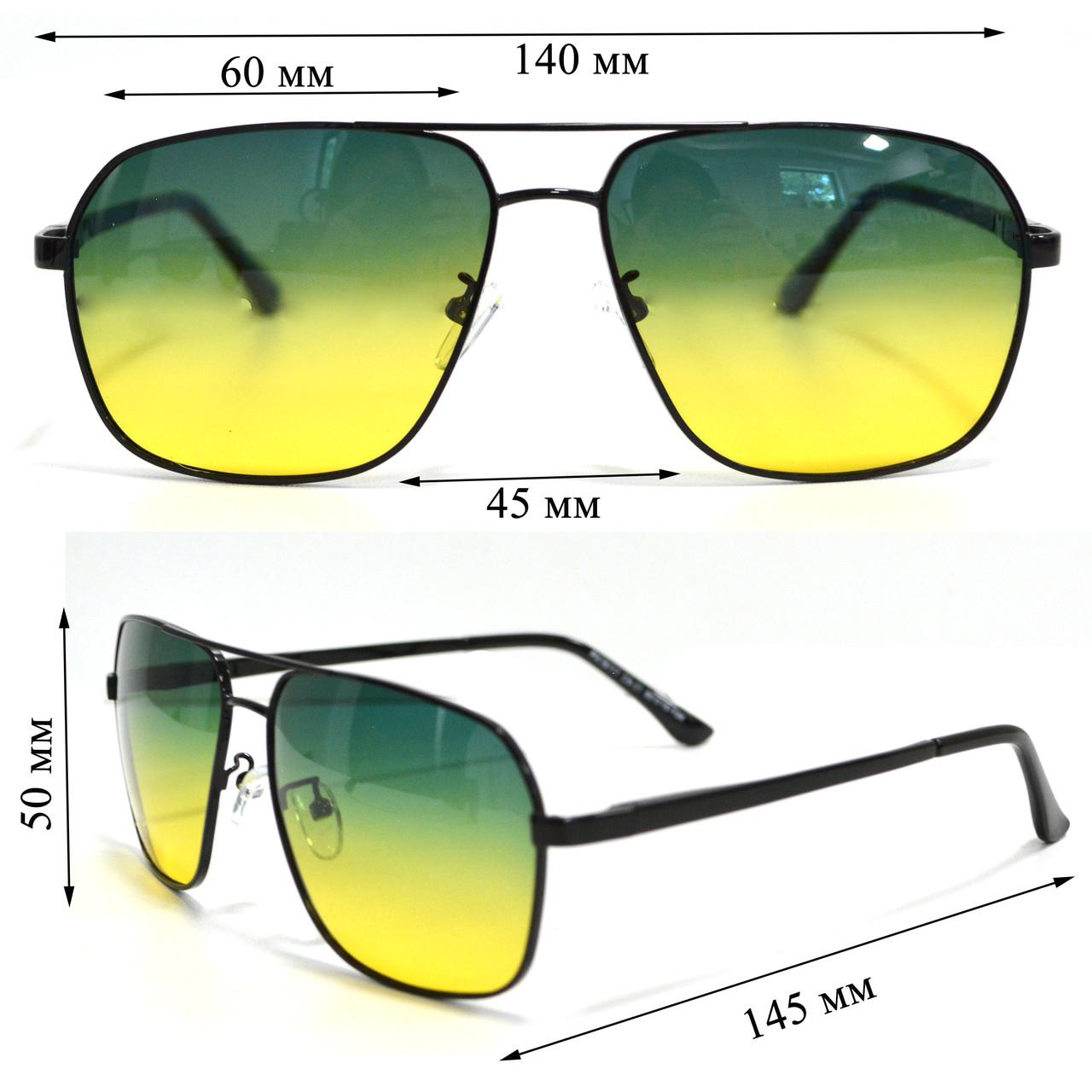 Солнцезащитные поляризационные очки ПОЛАРОИД UV400 тонкая сдвоенная оправа желто зеленые стекла АВТО PX16117 - фото 2