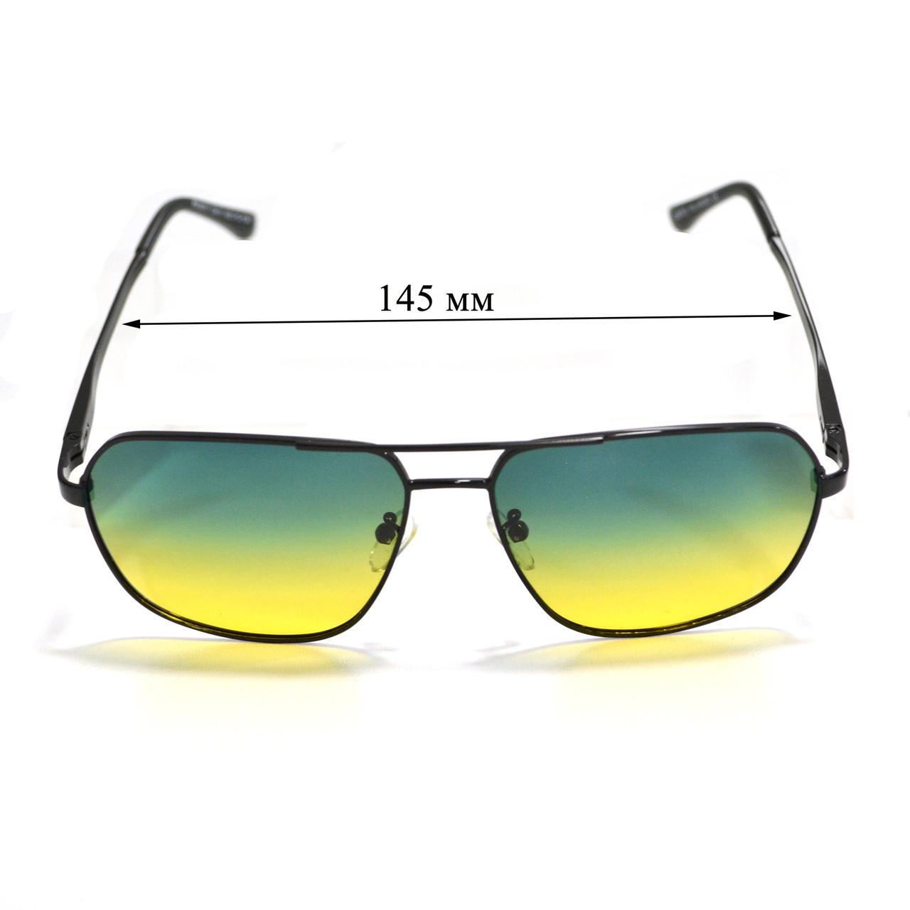Солнцезащитные поляризационные очки ПОЛАРОИД UV400 тонкая сдвоенная оправа желто зеленые стекла АВТО PX16117 - фото 3