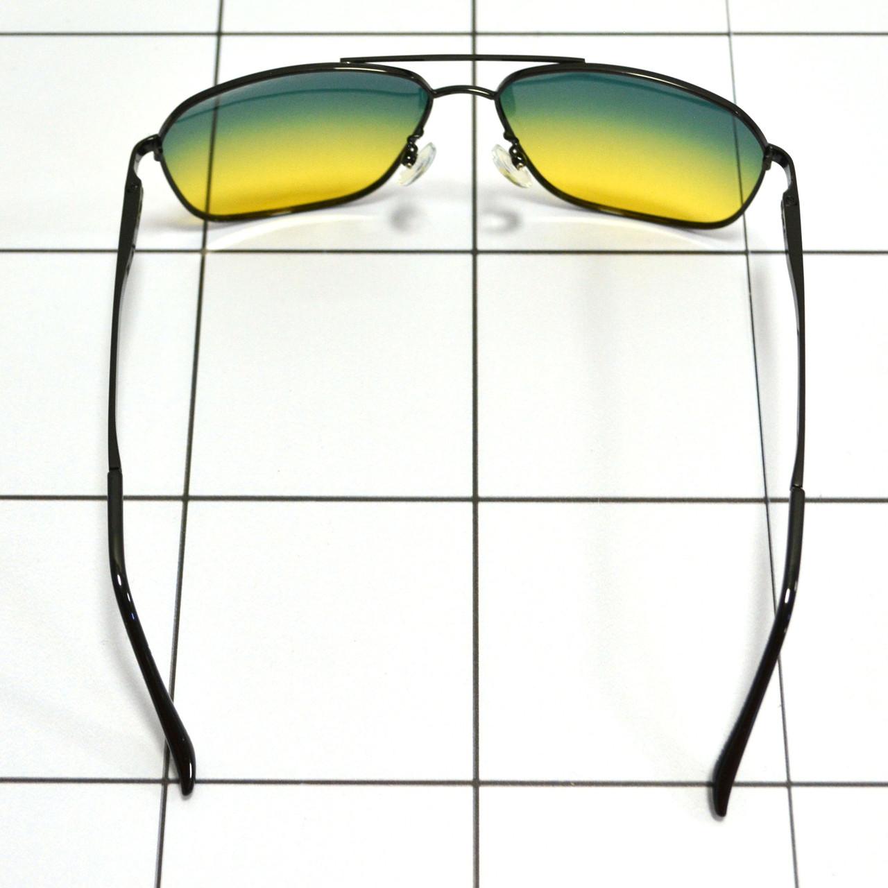 Солнцезащитные поляризационные очки ПОЛАРОИД UV400 тонкая сдвоенная оправа желто зеленые стекла АВТО PX16117 - фото 6