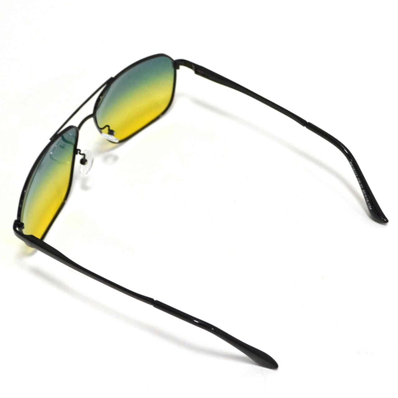 Солнцезащитные поляризационные очки ПОЛАРОИД UV400 тонкая сдвоенная оправа желто зеленые стекла АВТО PX16117 - фото 7