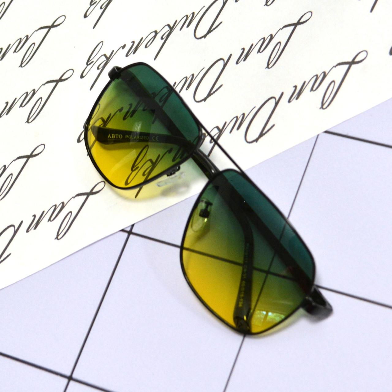 Солнцезащитные поляризационные очки ПОЛАРОИД UV400 тонкая сдвоенная оправа желто зеленые стекла АВТО PX16117 - фото 8