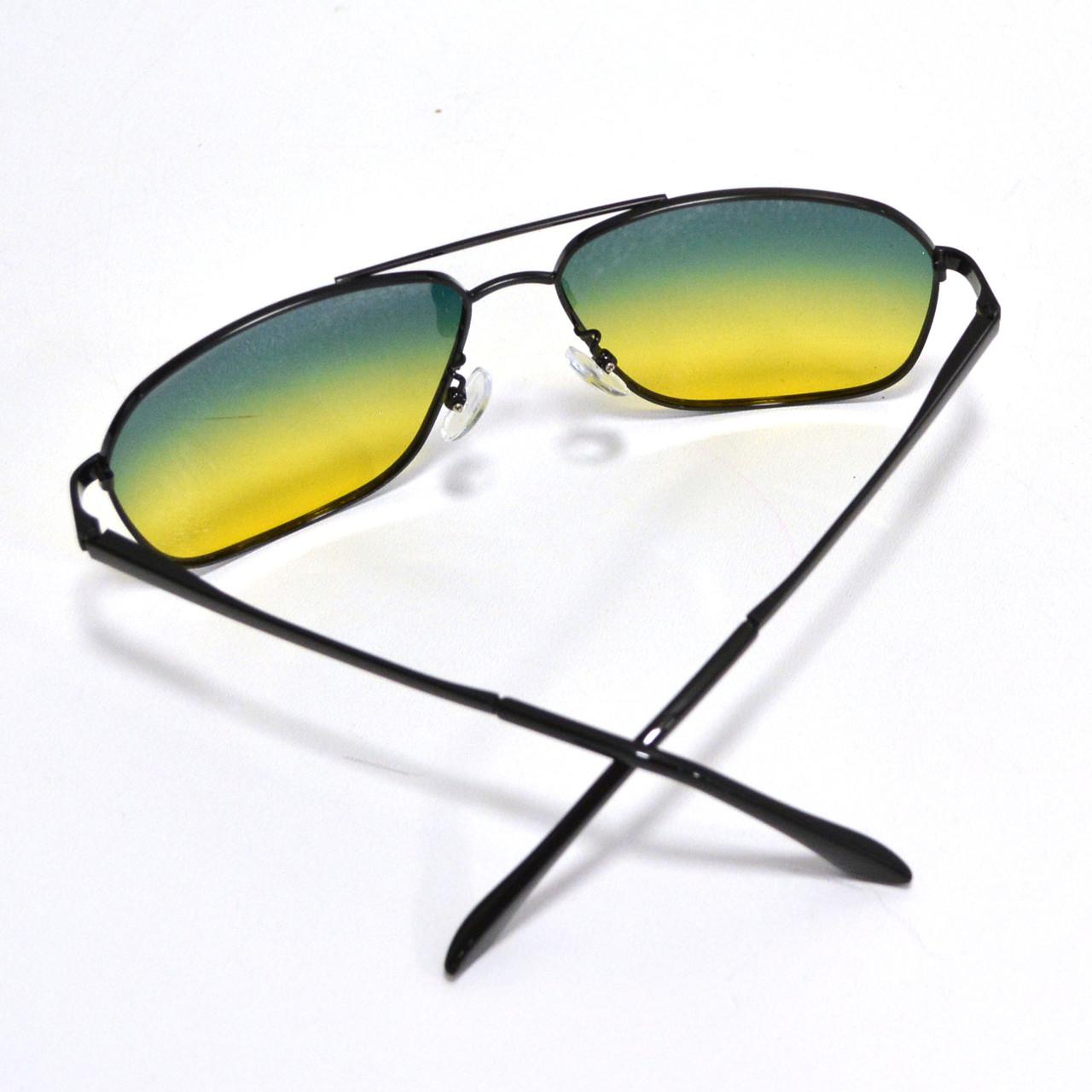 Солнцезащитные поляризационные очки ПОЛАРОИД UV400 тонкая сдвоенная оправа желто зеленые стекла АВТО PX16117 - фото 9