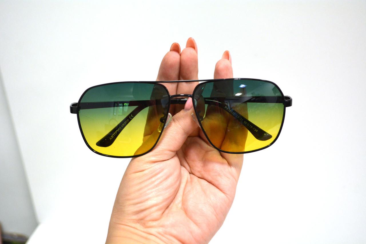 Солнцезащитные поляризационные очки ПОЛАРОИД UV400 тонкая сдвоенная оправа желто зеленые стекла АВТО PX16117 - фото 10
