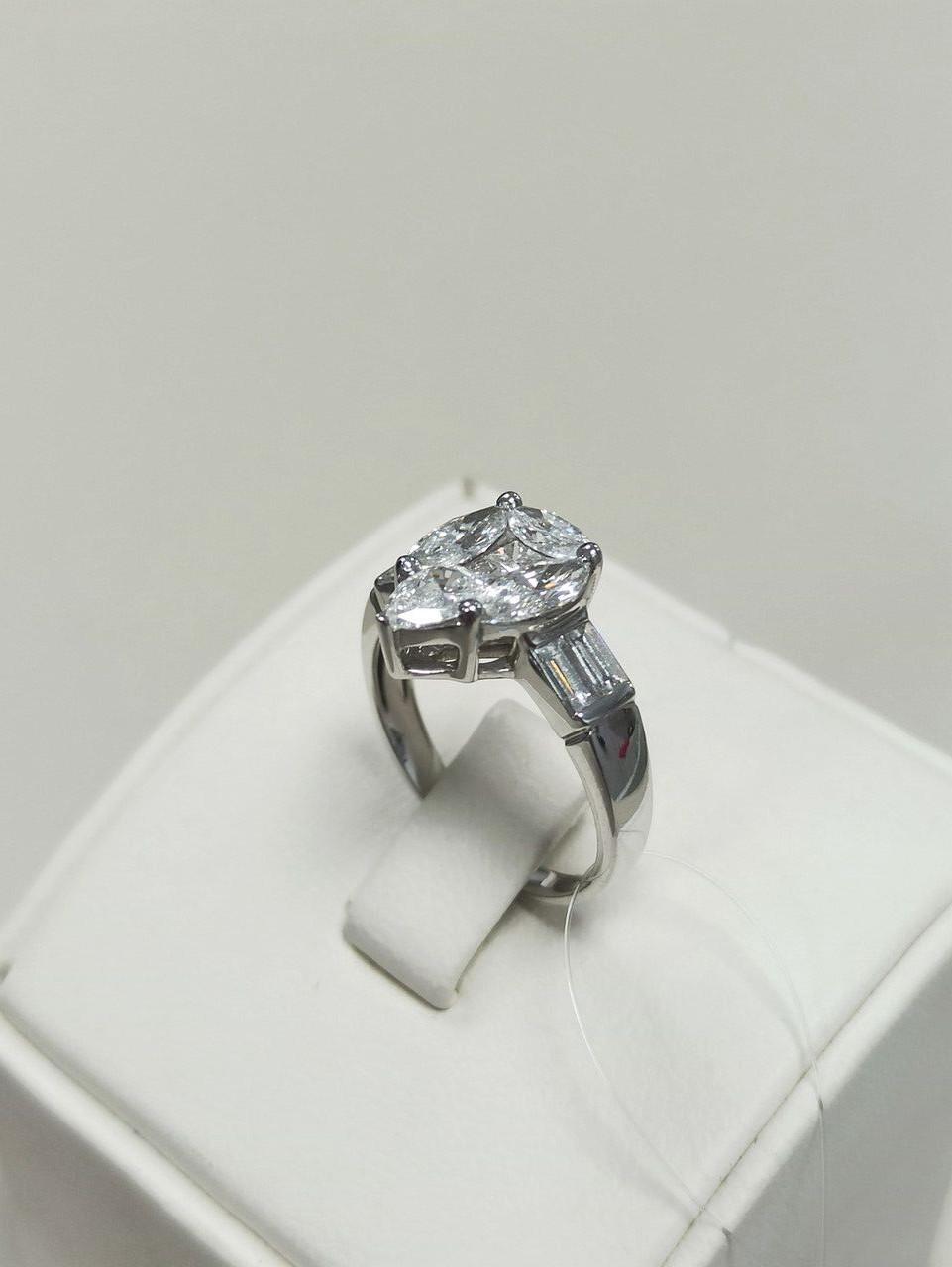 Кольцо с бриллиантами / 17 размер - фото 2