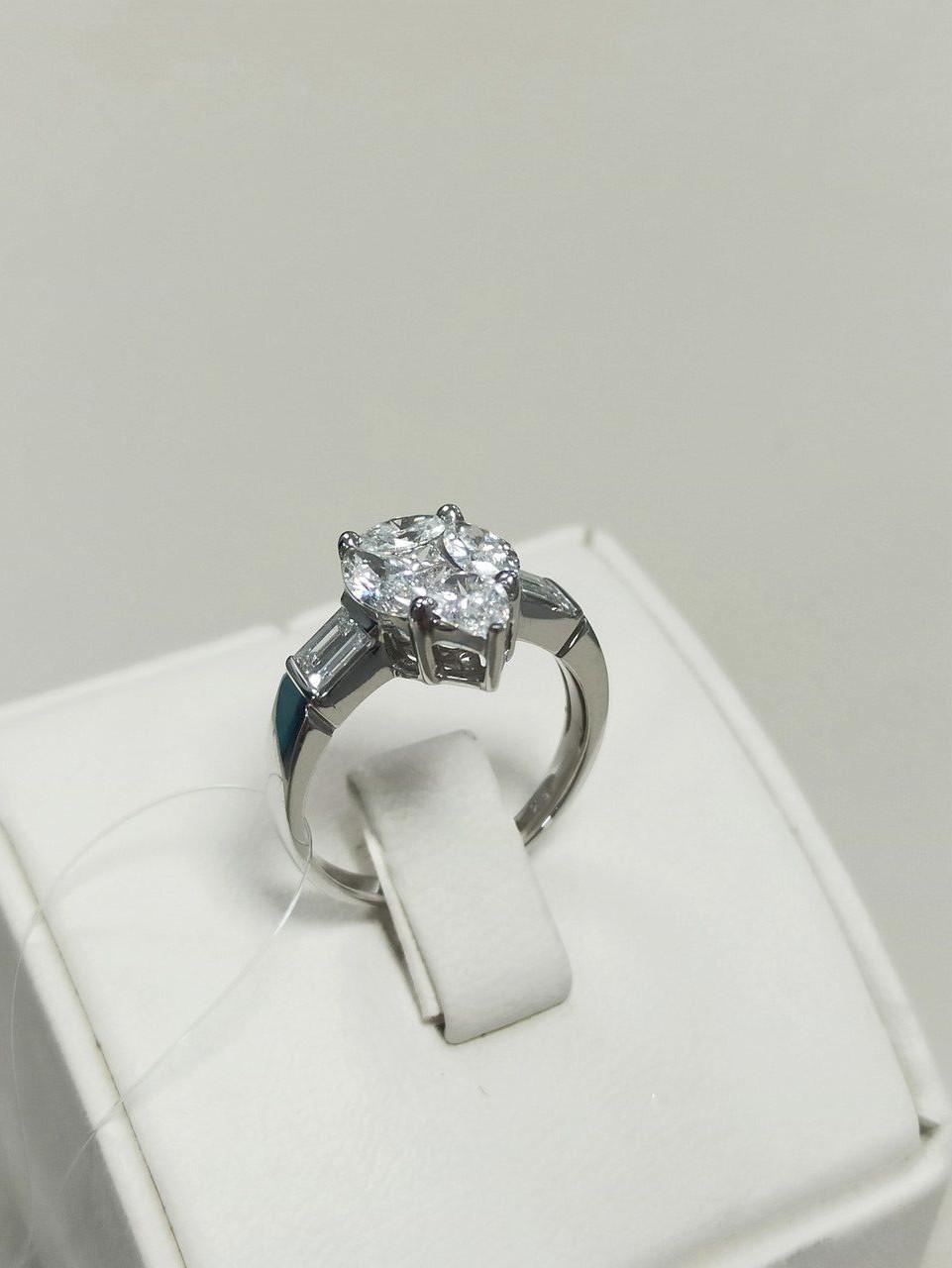 Кольцо с бриллиантами / 17 размер - фото 1