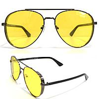 Солнцезащитные поляризационные очки ПОЛАРОИД UV400 тонкая сдвоенная оправа Желтые стекла АВТО PGX135