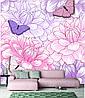 Розовые цветы с бабочками