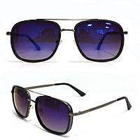 Солнцезащитные тонкая металлическая сдвоенная оправа фиолетовые стекла 9055