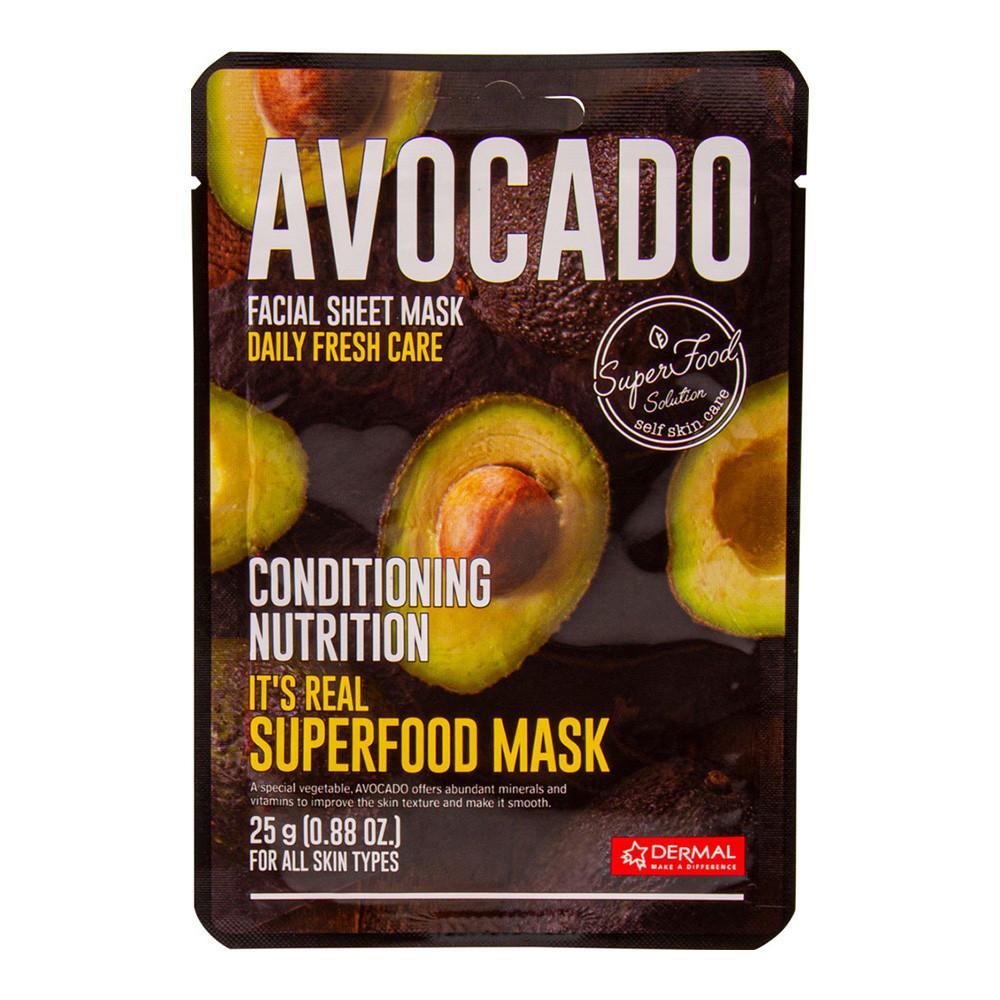 Dermal Питательная маска для лица на основе экстракта авокадо It's Real Superfood  Avocado Facial Mask