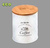 Металлическая емкость coffe для хранения с БАМБУКОВОЙ крышкой. KESPER. 38250 63