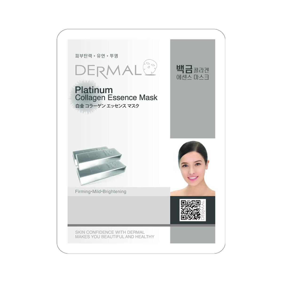 Dermal Питательная маска для лица на основе эссенции платины и коллагена Platinum Collagen Essence Mask