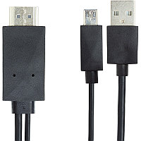 Кабель-переходник PowerPlant  micro USB - HDMI + USB, 2.0m, (MHL), Blister