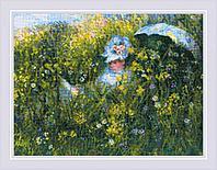"""Набор для вышивания крестом РИОЛИС 1850 """"На лугу"""" по мотивам картины К.Моне"""