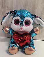 Мягкая игрушка зайчик с пайетками, 17 см