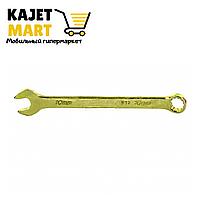 Ключ комбинированный, 10 мм, желтый цинк// Сибртех