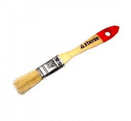 """Кисть плоская STAYER """"UNIVERSAL-STANDARD"""", светлая натуральная щетина, деревянная ручка, 25мм"""
