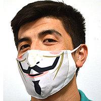 Многоразовая защитная маска дышащаяся тонкая от пыли резинка с регулировкой длины Гай Фокс Анонимус