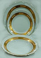 Набор тарелок 6персон 18предметов Лента золото+кофейный