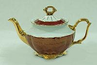 Чайник заварочный Бордовый золотая отводка