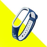 Ремешок силиконовый для фитнес браслетов M3 и M4 синий и белый