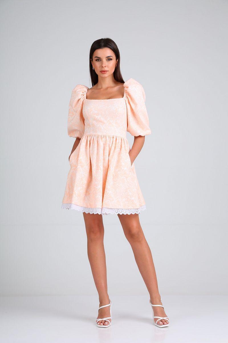 Женское летнее розовое нарядное платье Diamant 1688 пудра 42р. - фото 1
