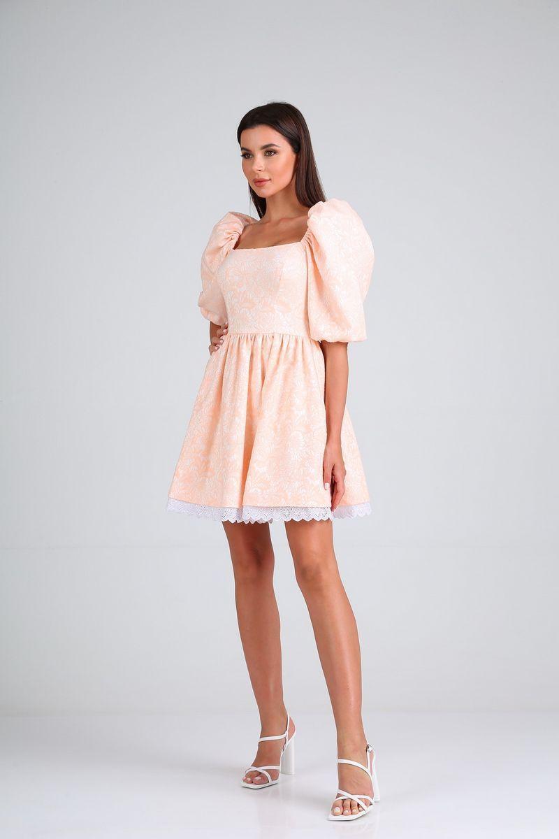 Женское летнее розовое нарядное платье Diamant 1688 пудра 42р. - фото 2