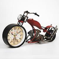 """Часы настольные """"Ретро мотоцикл"""", плавный ход, 18 х 29.5 см, d=9.5 см"""