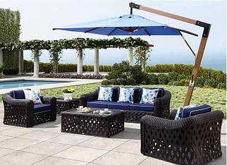 Зонт квадратный Wood, 3*3м, синий (с 4-мя утяжелителями)