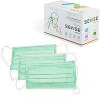 Маска медицинская одноразовая, 3-сл., на резинках, 50 шт/уп, зеленый, картонная упаковка, SENSE