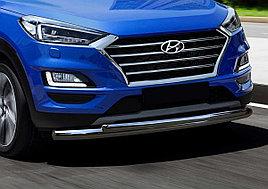 Защита переднего бампера d57+d42 для Hyundai Tucson (2018-2021)