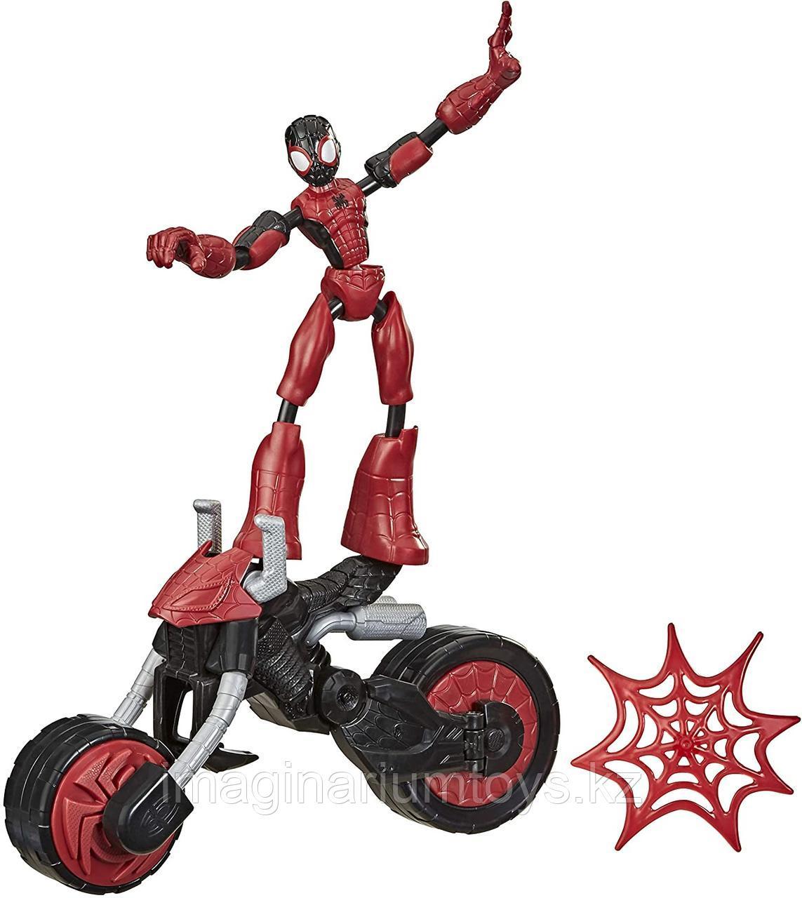 Человек-паук на мотоцикле Bend&Flex Spider-man