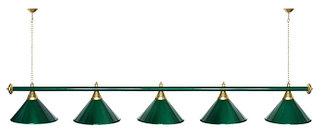 """Лампа """"STARTBILLIARDS"""" 5 пл. металл (плафоны зеленые, штанга зеленая)"""